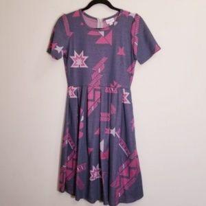 Lularoe medium Amelia Gray/Pink Dress w POCKETS